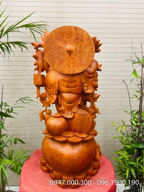 Di lặc vác đào ngũ phúc cao 88cm gỗ hương