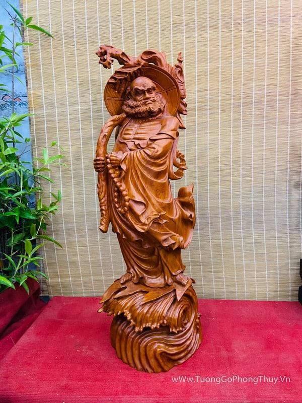 Đạt Ma sư tổ quá hải cao 1m siêu đẹp gỗ hương