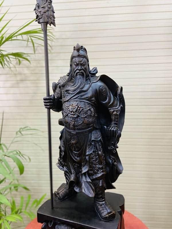 Tượng Quan Công - Quan Vân Trường gỗ mun cao 80cm