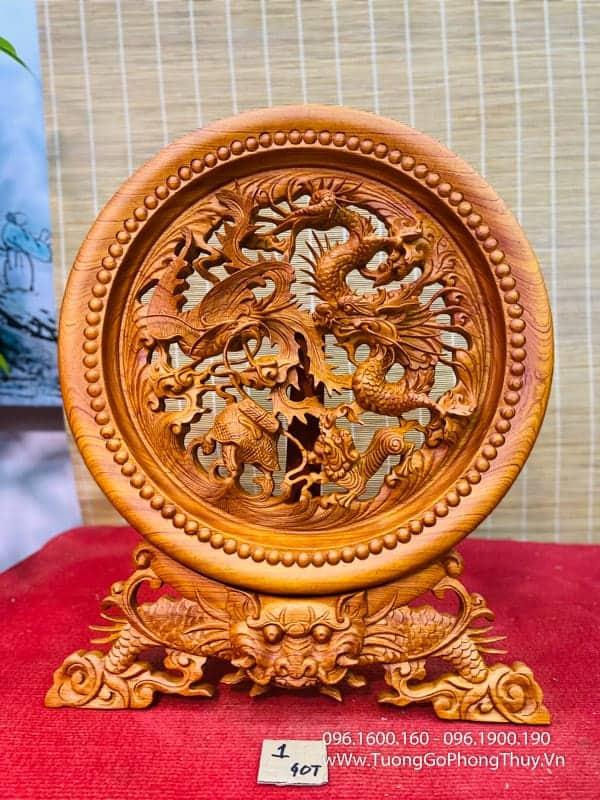 Mâm tứ linh gỗ hương đường kính 40cm