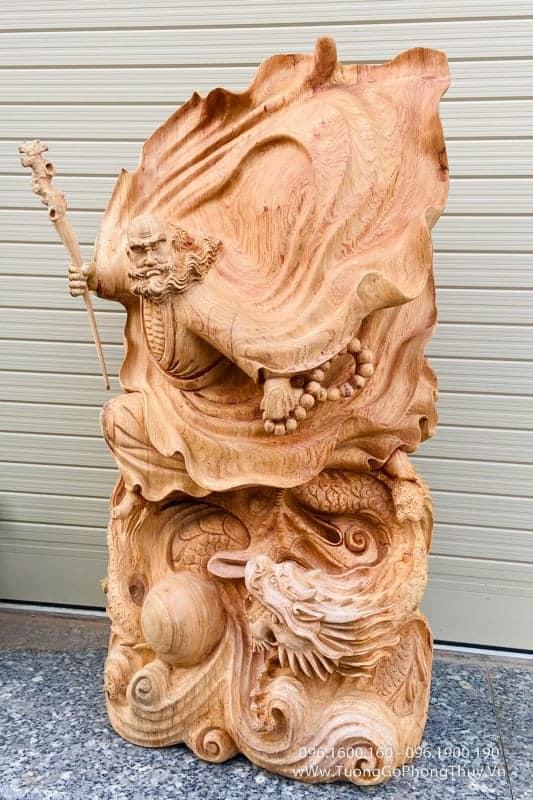Tượng Đạt Ma Bay Đẹp cao 78cm gỗ hương