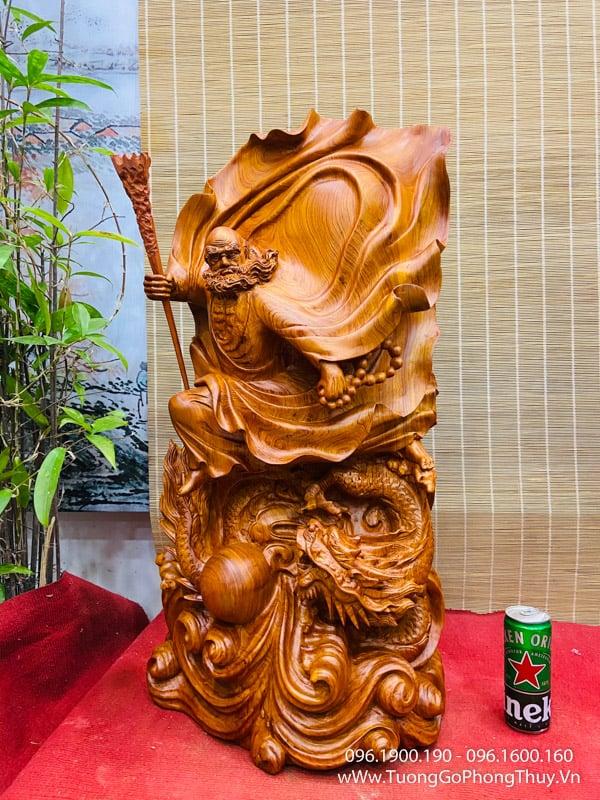 Tượng Đạt Ma Bay Đẹp cao 80cm gỗ hương