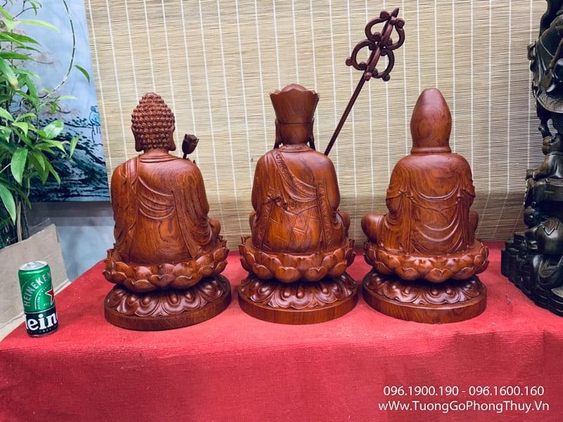 Tượng tây phương tam thánh ngồi gỗ hương