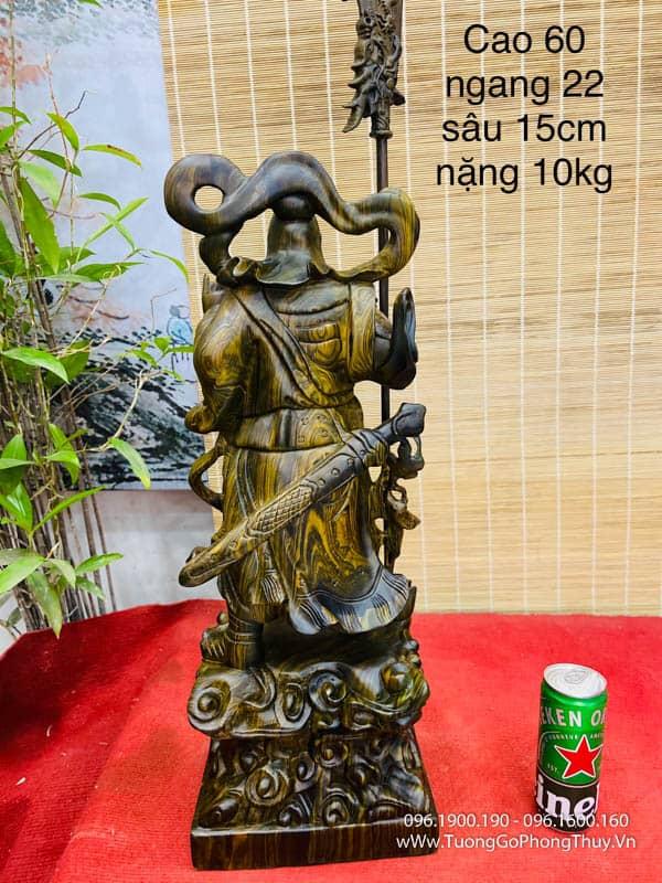 Tượng quan công gỗ mun sọc cao 60cm