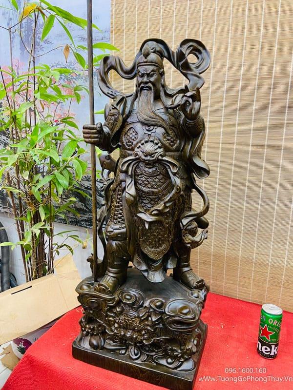 Tượng quan công gỗ mun cao 1m