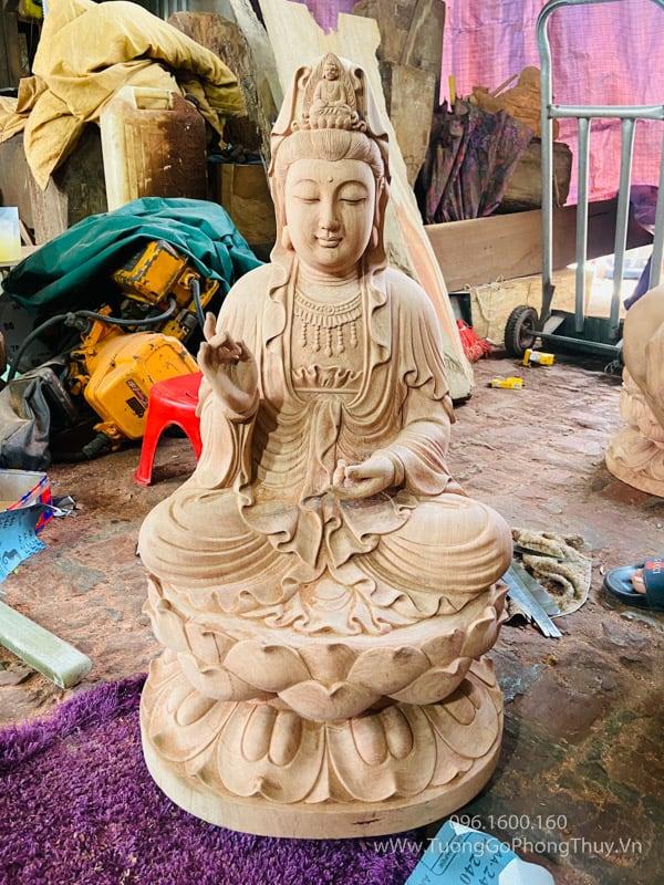 Tượng Phật Quan âm ngồi đài sen đẹp gỗ hương